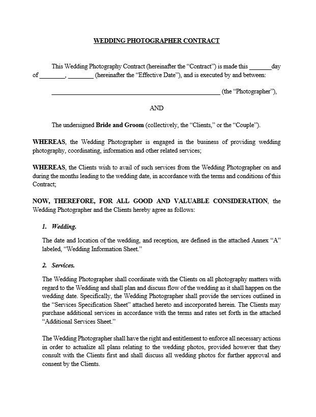 Wedding Photography Contract Template - ApproveMe - Free Contract