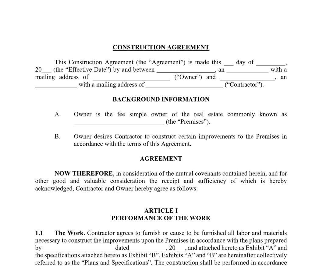 Construction Contract Template Approveme Free Contract Templates