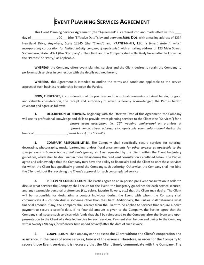 Event Planning Contract Template Approveme Free Contract Templates