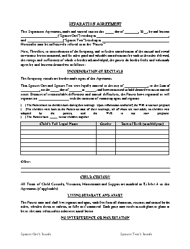 Separation Agreement Template Screenshot