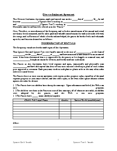 Divorce Settlement Agreement Template Screenshot