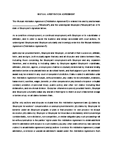 Arbitration Agreement Template Screenshot