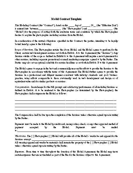 Model Contract Template Screenshot