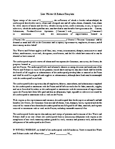 Lien Waiver Template Screenshot