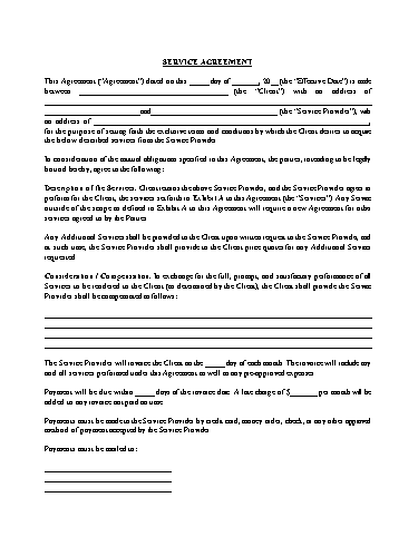 Service Agreement Template Screenshot