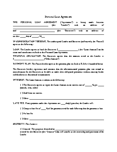 Personal Loan Agreement Template Screenshot