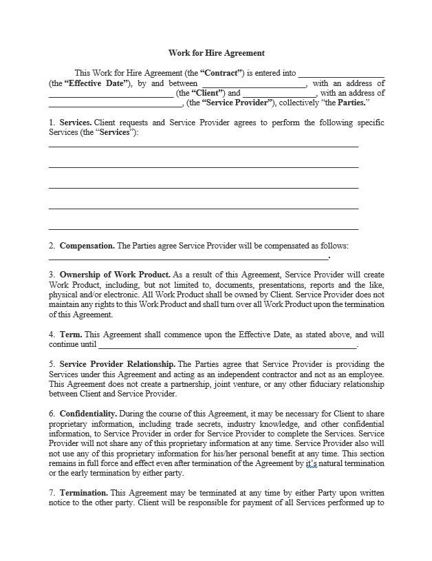 Work For Hire Agreement Approveme Free Contract Templates