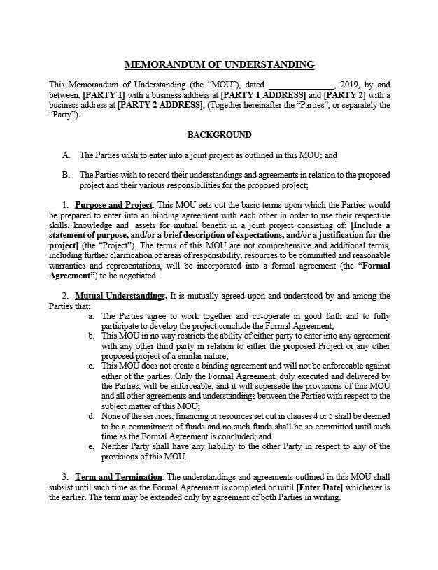 memorandum of understanding agreement template approveme. Black Bedroom Furniture Sets. Home Design Ideas