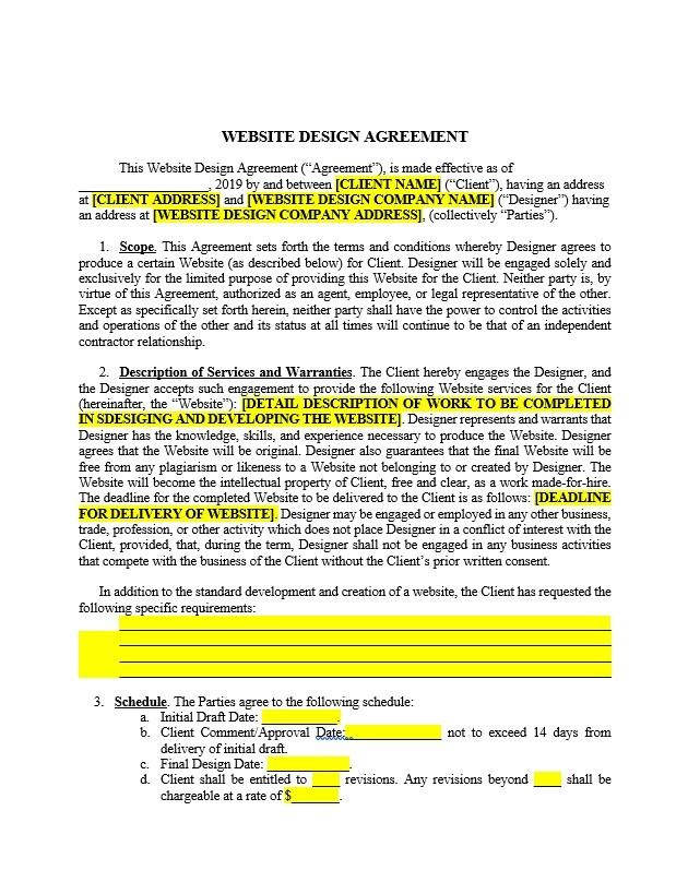 Website Design Agreement Template Approveme Free Contract Templates