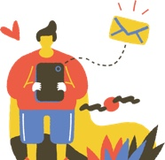 get in touch, illustration of someone sending a message via smart phone