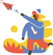 Start Chat, illustration of someone throwing a paper airplane.