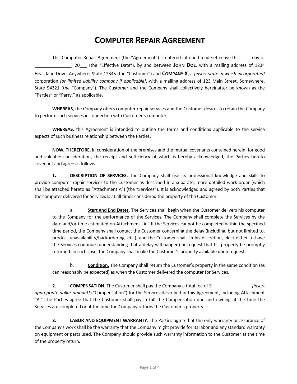 computer repair agreement