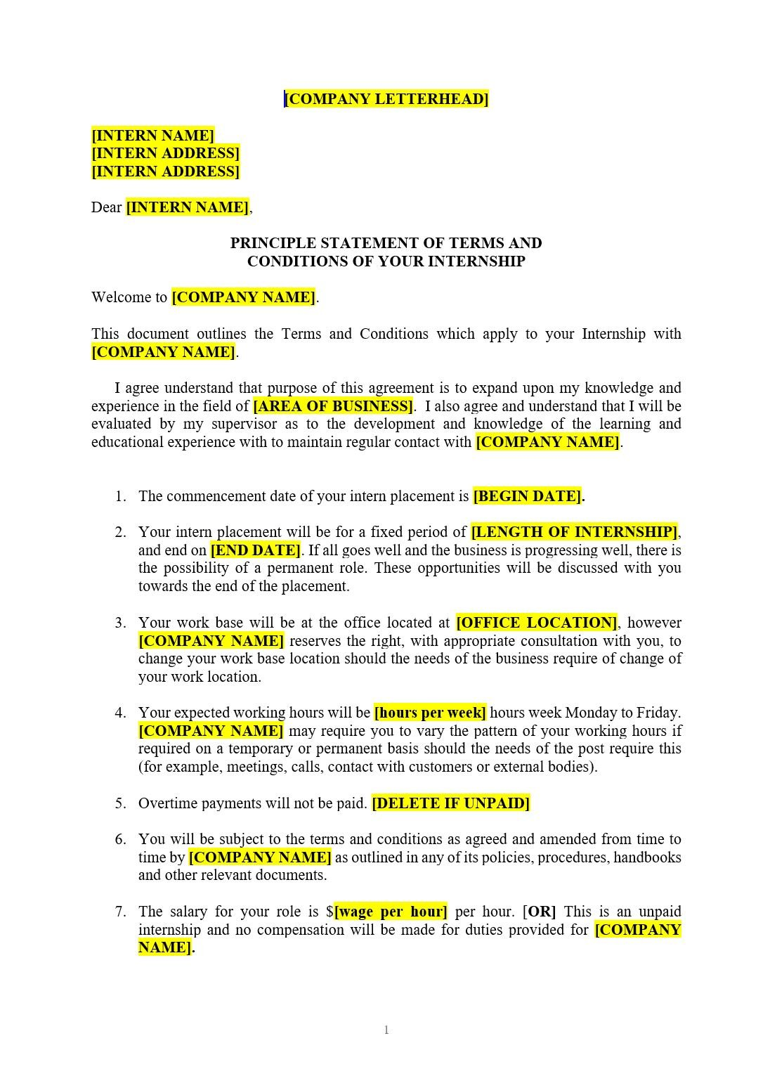 internship agreement template