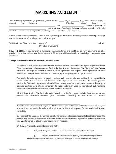 Marketing Agreement Template Approveme Free Contract Templates