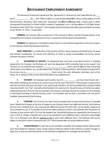 Restaurant-Employment-Agreement-Screenshot Offer Letter Template Full Time Job on sample sales, for manager,