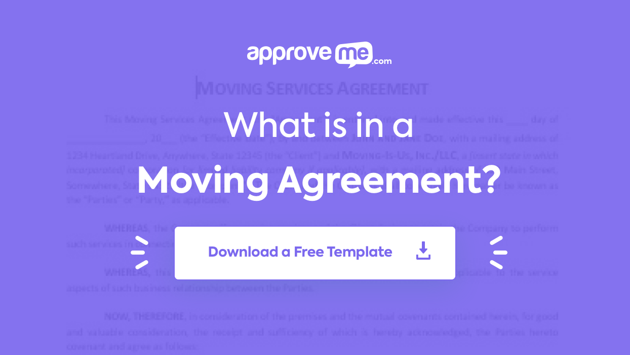 moving agreement template approveme free contract. Black Bedroom Furniture Sets. Home Design Ideas
