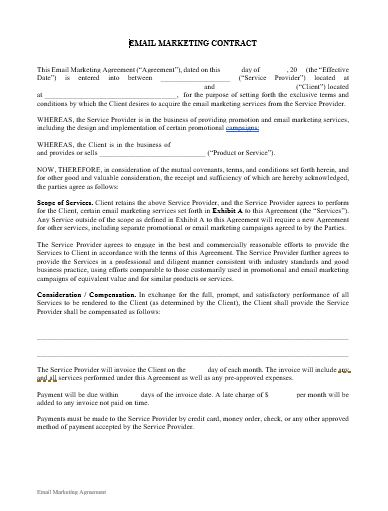 Email Marketing Contract Template Approveme Free Contract Templates