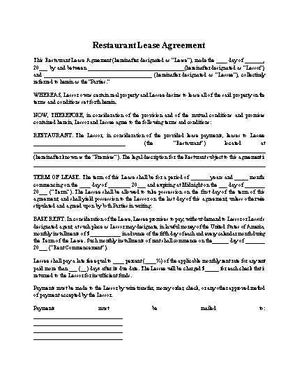 Restaurant Lease Agreement Template Screenshot