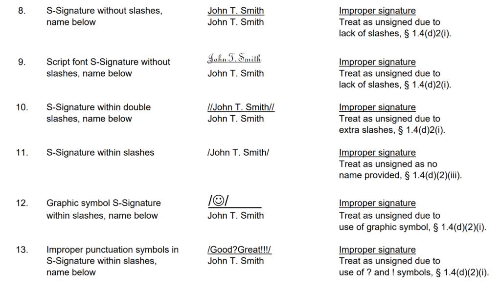 S Signature Examples