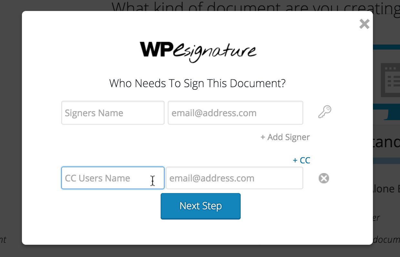 esignature carbon copy non-signer wordpress