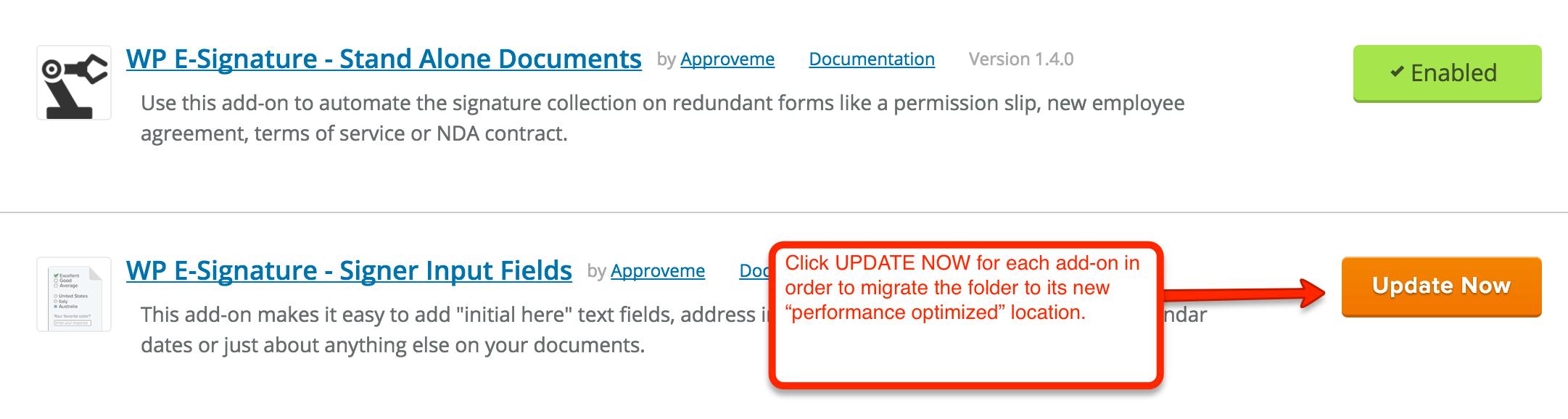 click update signature now