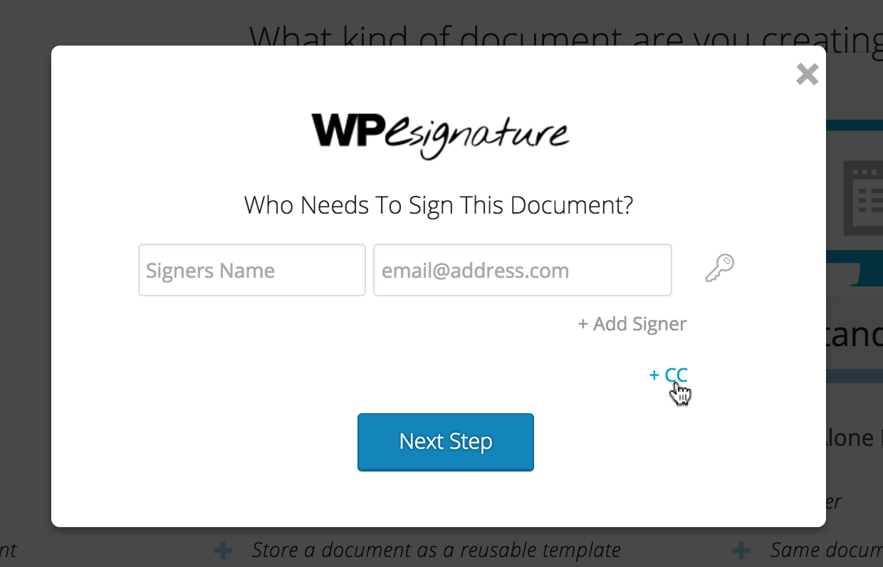 esignature cc non-signer wordpress
