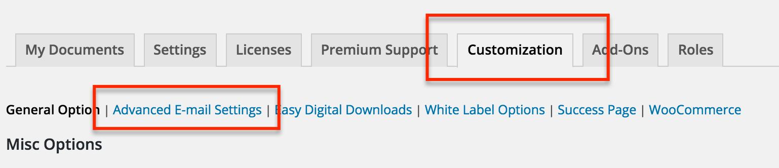 wordpress smtp mail settings esignature plugin