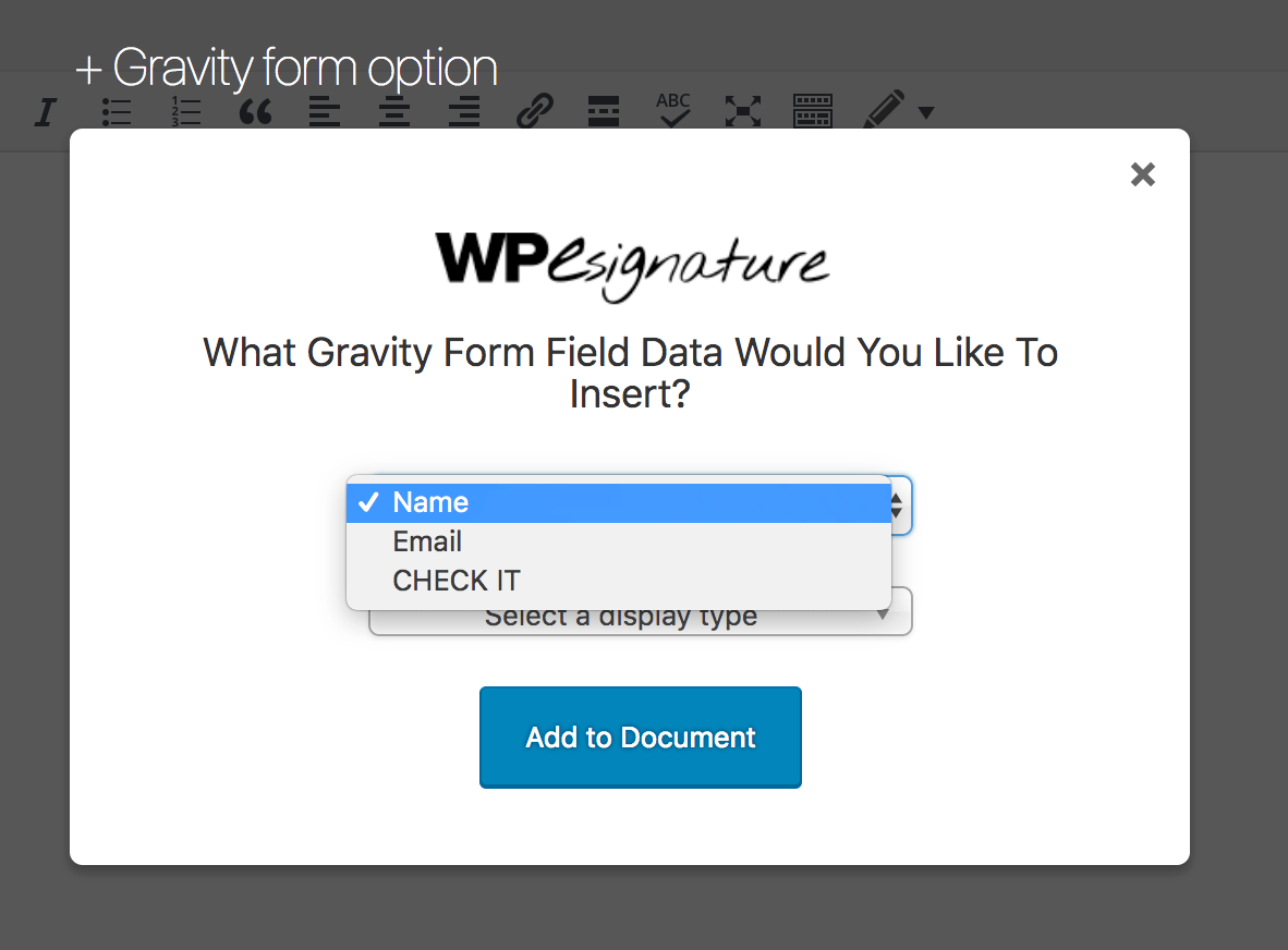 Dropdown to select form field
