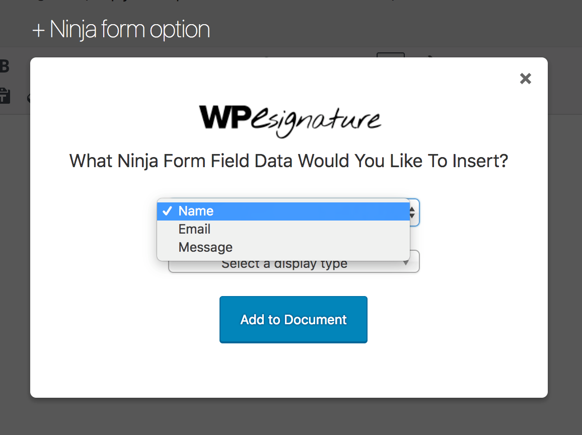 Select the Data you want to input in the dropdown