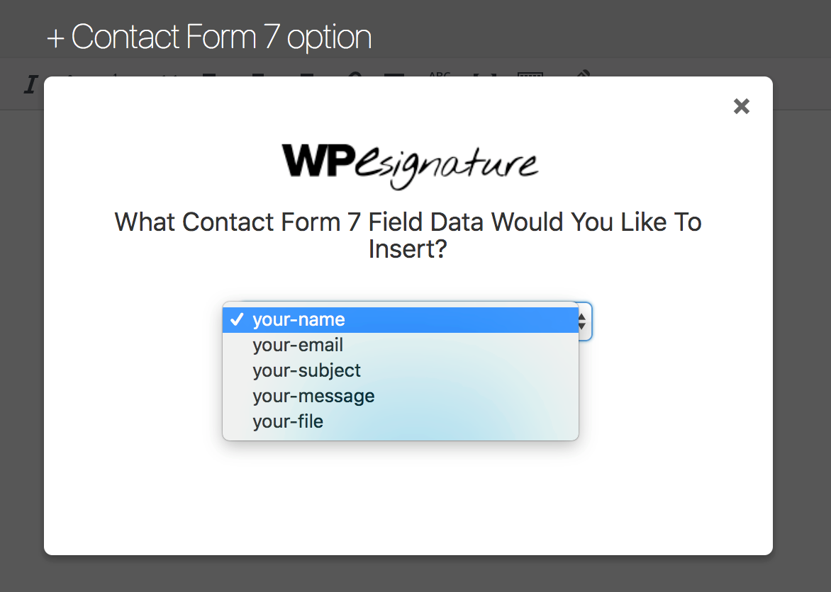 Dropdown to select form field data