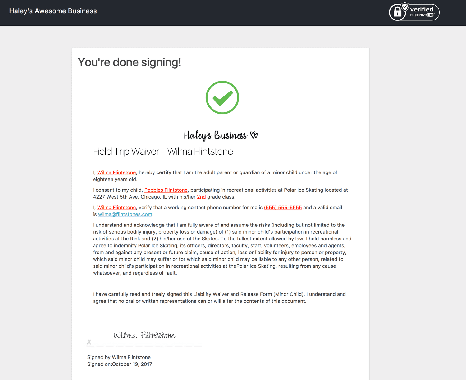 sign contracts online with gravity forms